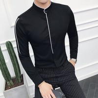 2018 New Style Men Shirt Long Sleeve Stand Collar Shirt Male Spring Autumn Black White Dress Slim Fit Casual Mens Social Shirts