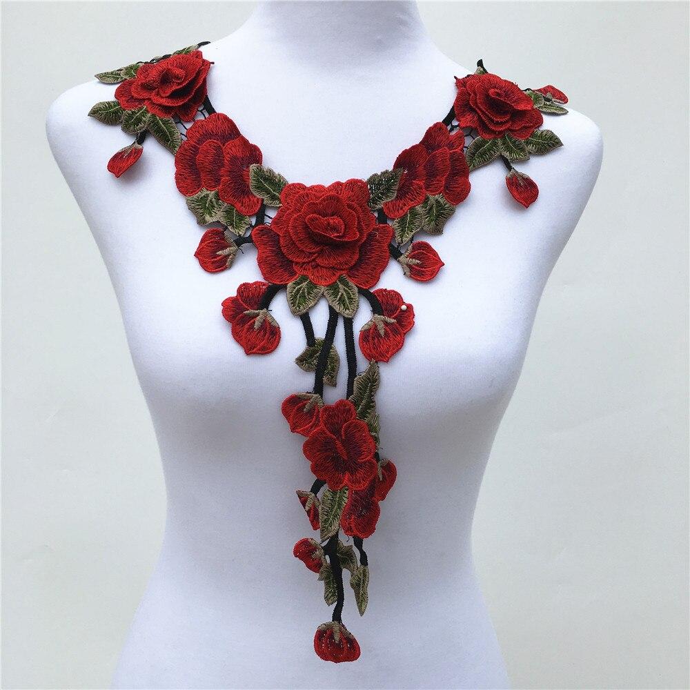 f339bbffd712 1 unid 3D flor Venise rojo Encaje vestido de tela applique motif blusa  Costura adornos DIY escote decoración Accesorios