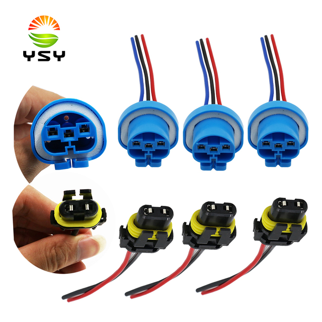 ysy 100x universal power cord 9005 hb3 9007 hb5 h10 female adapter wiring  harness sockets cable for headlight fog led light bulb