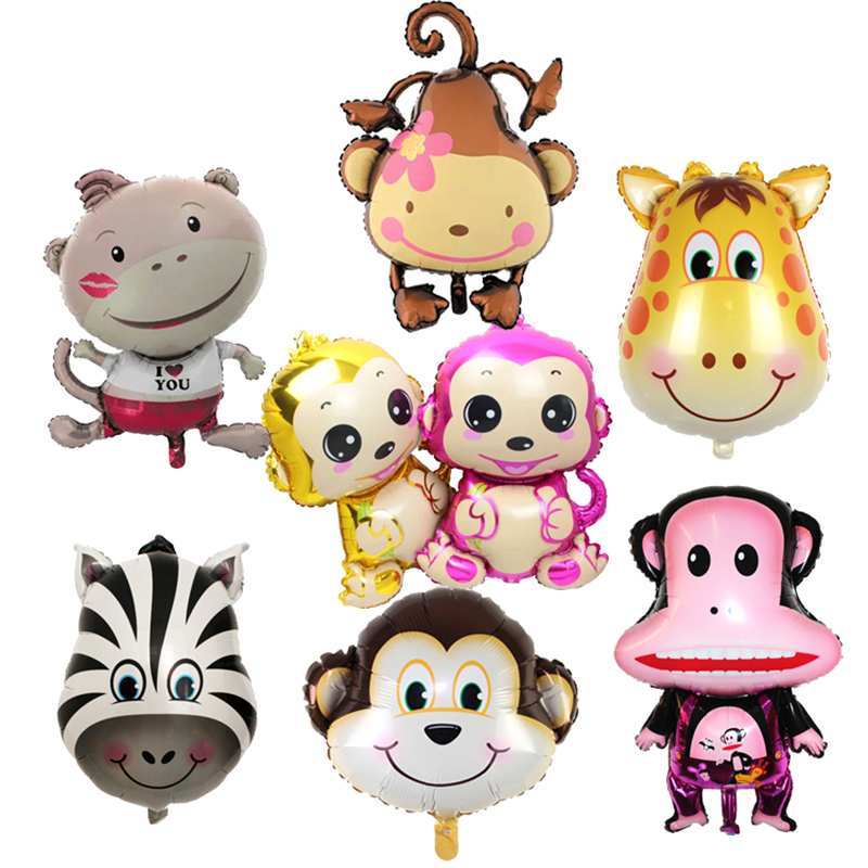 Mini Cartoon Monkey & Zebra &deer  Animals Head Foil Balloons Animal Air Balloons Theme Birthday Party Decoration Toys