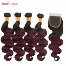 Miss Rola font b Hair b font Pre colored Ombre Peruvian Body Wave 1B 99J 100