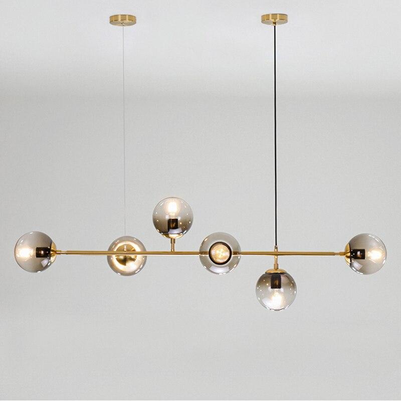 Mão máscara de vidro soprado lustre Nordic longo pendurado luminária de suspensão para o deco casa bola de vidro de ouro feijão mágico plafonnier