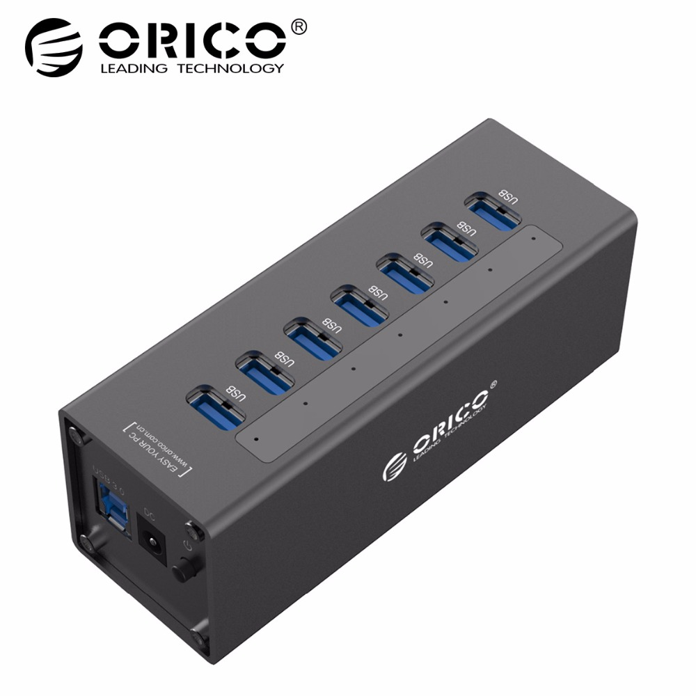 ORICO A3H7 USB 3.0 HUB High Speed Aluminum 7 Port USB 3.0 HUB For PC/ Laptop - Black