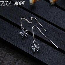 2017 Simple Hollow Flower Ear Line Long 925 Sterling Silver Box Chain Tassel Earrings For Women Sterling Silver Jewelry TYC1751