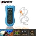 Askmeer 8 GB Natação Mergulho IPX8 Mp3 Player À Prova D' Água Esporte Running Mini Clipe MP3 Music Player com FM Fone de Ouvido Estéreo fone de ouvido