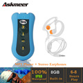 Askmeer 8GB Swimming Diving Mp3 Player IPX8 Waterproof Sport Running Mini Clip MP3 Music Player with FM Stereo Earphone Headset