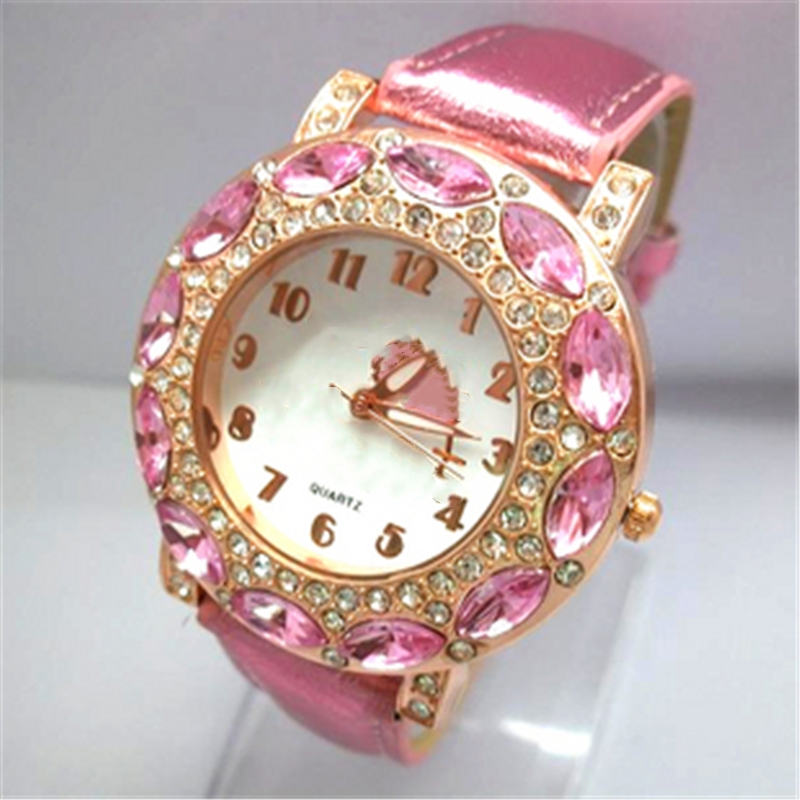O.T.Sea Brand Lovely Cartoon Watch Children Girls Women Fashion Crystal Dress Quartz Wristwatches Kids Watch