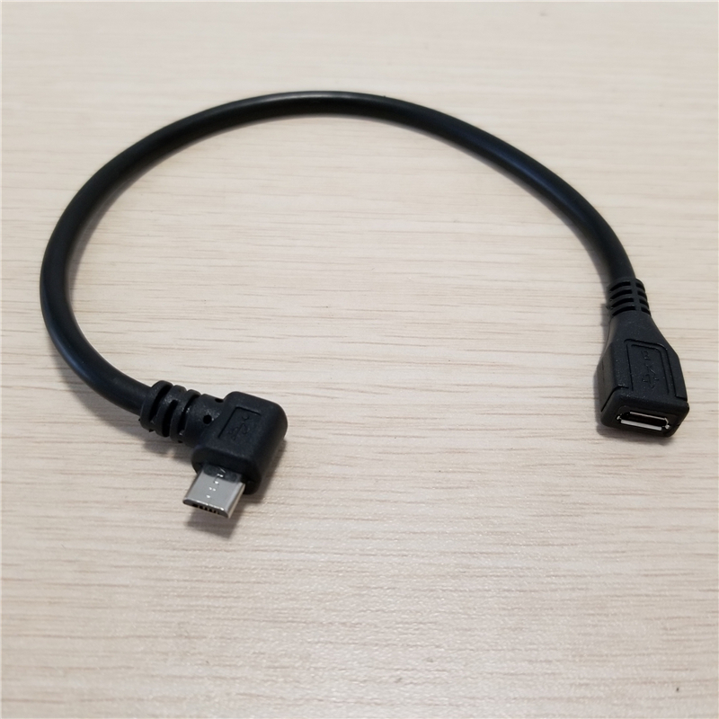 10 Stks/partij 90 Graden Links Hoek Micro Usb 5pin Male Naar Micro Usb 5pin Vrouwelijke Extension Data Charge Power Cable 25 Cm En Digestion Helping