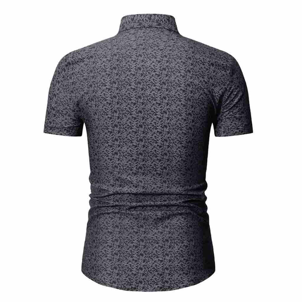 Большие размеры Мужская рубашка Лето 2019 короткий рукав отложной воротник мужские Формальные Рубашки Винтаж корейский стиль Мужская рубашка Camisa Hombre