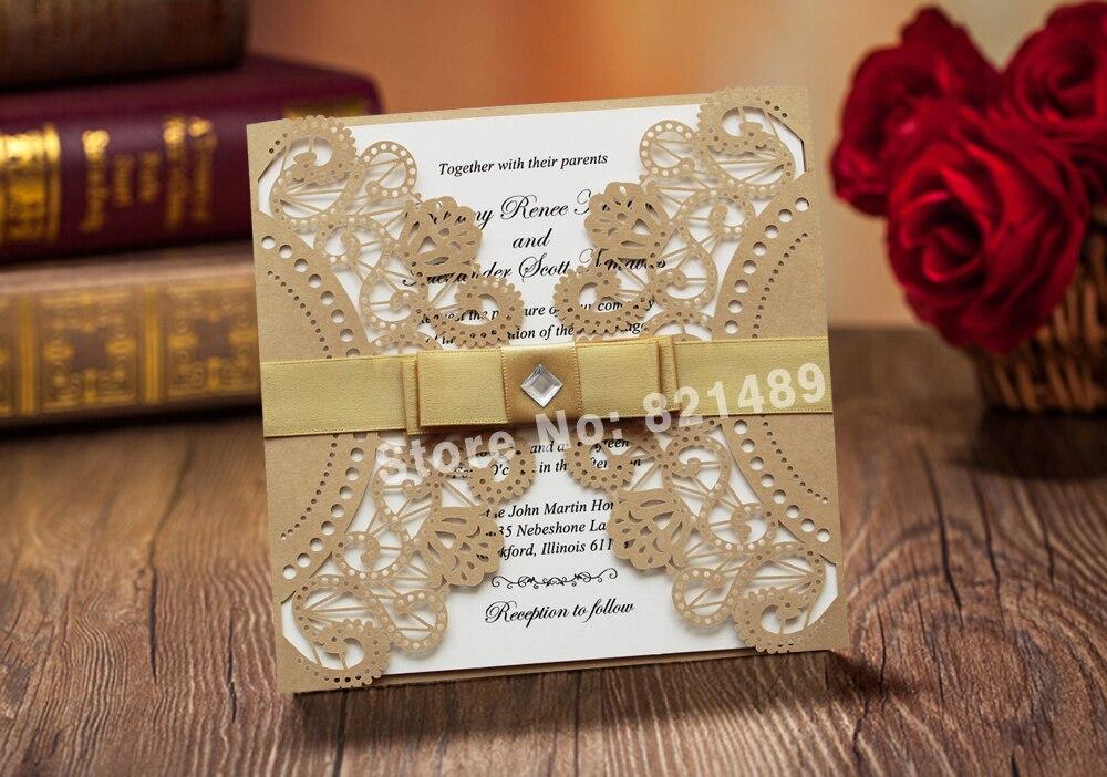 Clic Gold And White Laser Cut Wedding Invitation Cards Swws005 5
