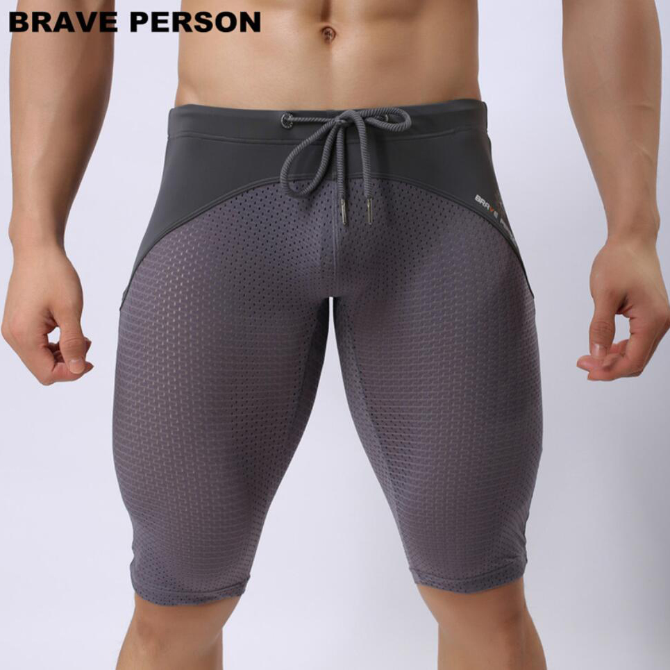 BRAVE PERSON Summer Style Breathable Mesh Men Tight Beach Swimsuit Men High Quality Elastic Knee Length Board Shorts Beachwear