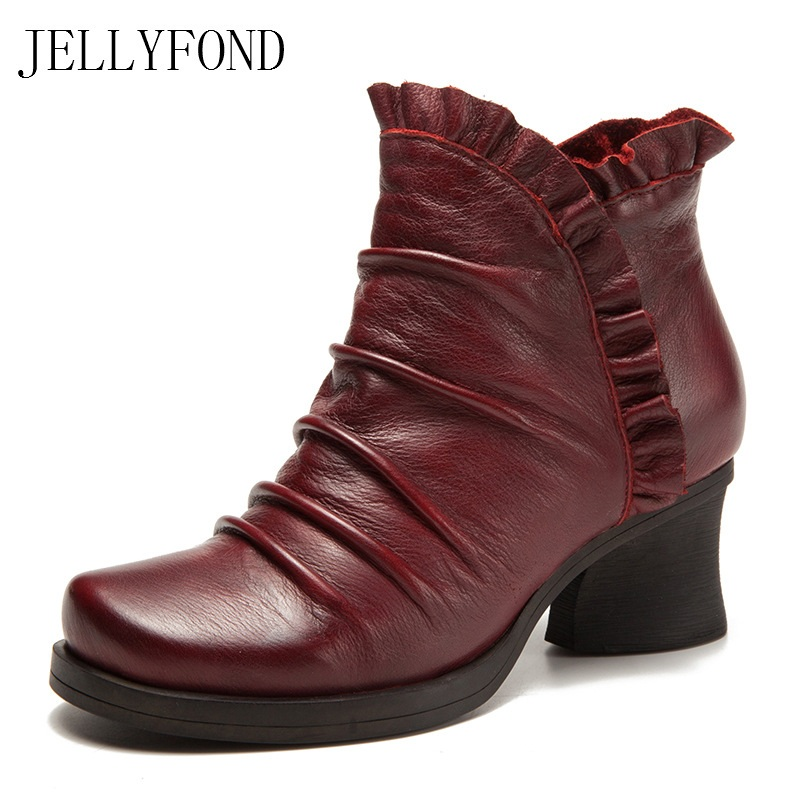 JELLYFOND Brand Genuine Leather Women Ankle Boots 2017 Round Toe Thick High Heels Retro Chelsea Boots Handmade Shoes Woman fashion genuine leather chelsea boots handmade keep warm winter boots round toe thick heels concise ankle boots for women l08