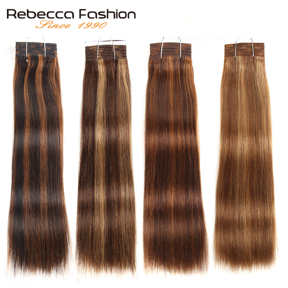 Rebecca Double Drawn Hair 113g Brazilian Remy Silky Straight Weave Hair Piano Brown 613 Blonde Colors Human Hair Bundles 1pc