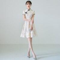 2019 summer chinese dress vestidos mujer women's silk satin cheongsam qipao dragon&phenix flower chinese traditional dress