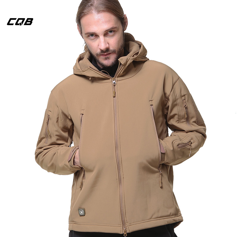 CQB Outdoor  Men's Softshell Jackets Sports Camping Hiking Tactical Military Male Fleece Climbing Clothes Windproof Hunting Coat