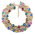 New Arrival Statement vintage crystal women accessories ornate multi colored za brand bib choker women necklace 4158