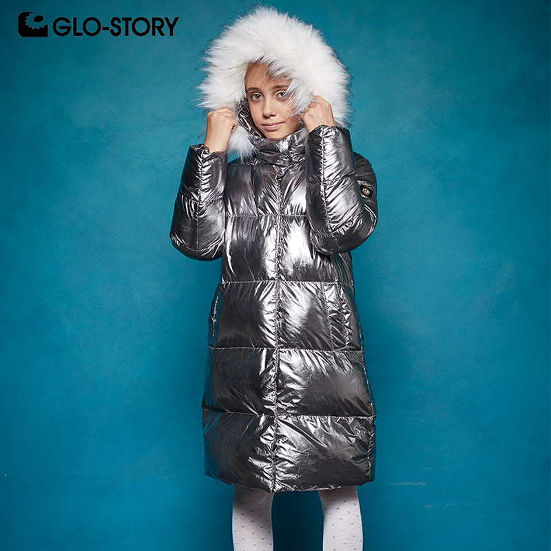 GLO-STORY Children Girls Christmas Shinny Fashion Long Parkas 2018 Teenage Girl Winter Thick Warm Jacket Coats with Fur Hoodie glo story teenage boys winter jackets children boy 2018 casual streetwear patchwork with tape zipper hoodie parkas coats