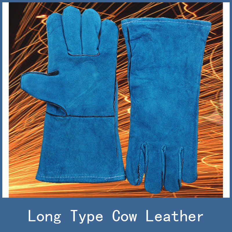 7 Colors Newest Stretch Long Type Antiwear Cow Leather Safety Protective Welding Work Gloves for Building Site Welder Soldering welder machine plasma cutter welder mask for welder machine