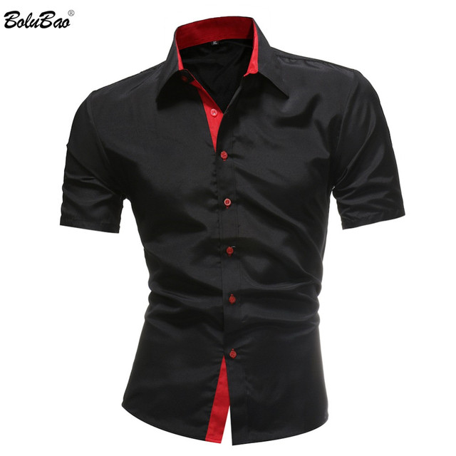 BOLUBAO Men Classic Business Shirts Casual Jeans Mens Solid color Shirt New short Sleeve Casual Slim Fit Male Blouse Shirt