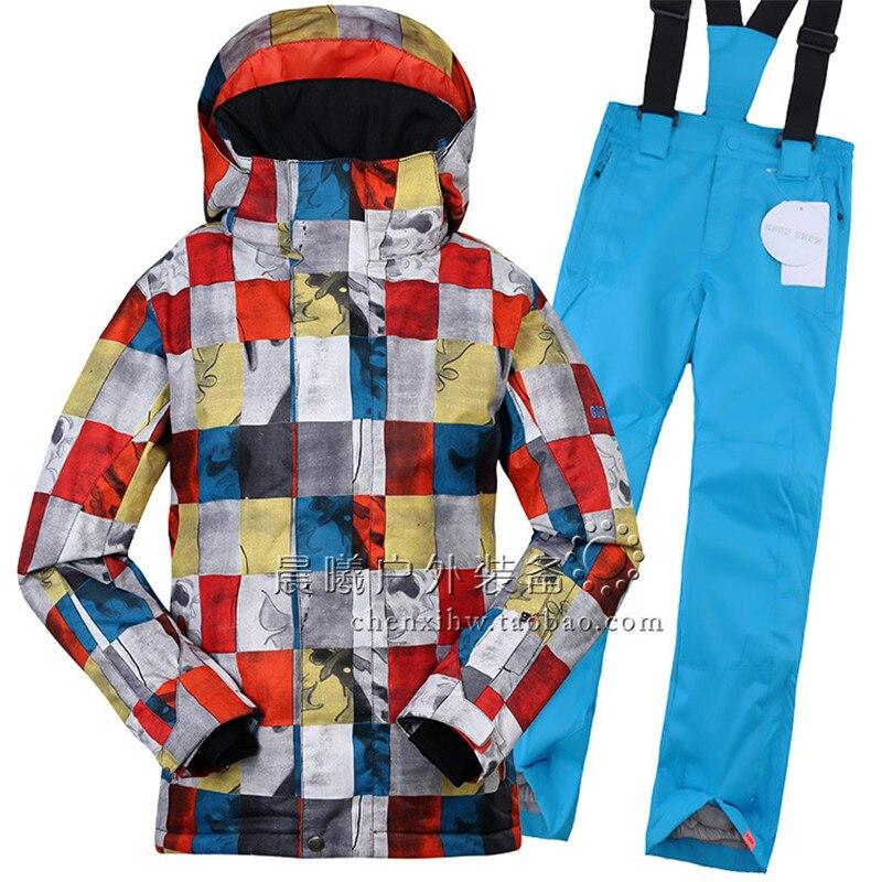 GSOU SNOW enfants garçons ensemble de vêtements d'hiver veste de Ski + pantalon combinaison de neige-20-30 degrés costume de Ski imperméable pour enfants en plein air