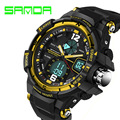 Marca sanda relógio moda homens esportes militares relógios à prova d' água led digital relógio dos homens de luxo relógio de quartzo analógico-digital