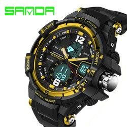 SANDA top brand luxury sports watch fashion military watch men <font><b>Clock</b></font> Male waterproof LED <font><b>digital</b></font> watch Relogio Masculino