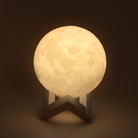 Tanbaby USB Rechargeable 3D Printing Moon Lamp 2-Color Change Dimmable Night Light Table Desk Lamp Bedroom Home Decoration