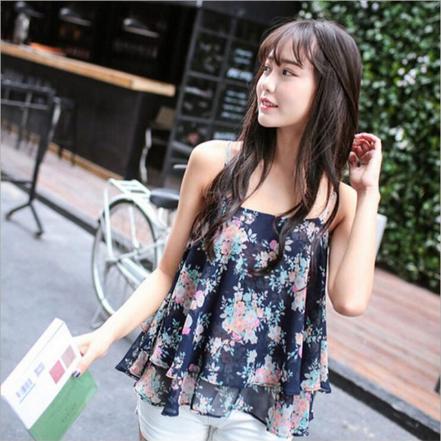 c4a85241 Summer 2016 Floral Crop Top Chiffon Retro Top Female Halter Women Tops Crop  Short Vest Cropped. Mouse over to zoom in