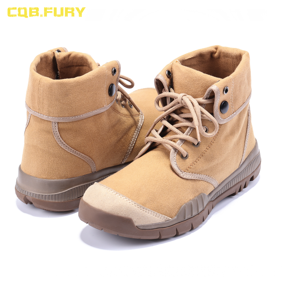 CQB FURY Summer Mens Tactical Desert Boots Sand Ankle strap lace up Military Boots Canvas Breathable