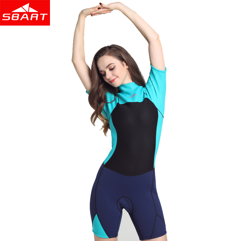 SBART 2MM Neoprene Women Short Sleeve One Piece Diving Suit Sunscreen Surfing Wetsuits Women winter warm surfing diving suits al01 slim protective pc silicone back case for iphone 6 4 7 navy blue