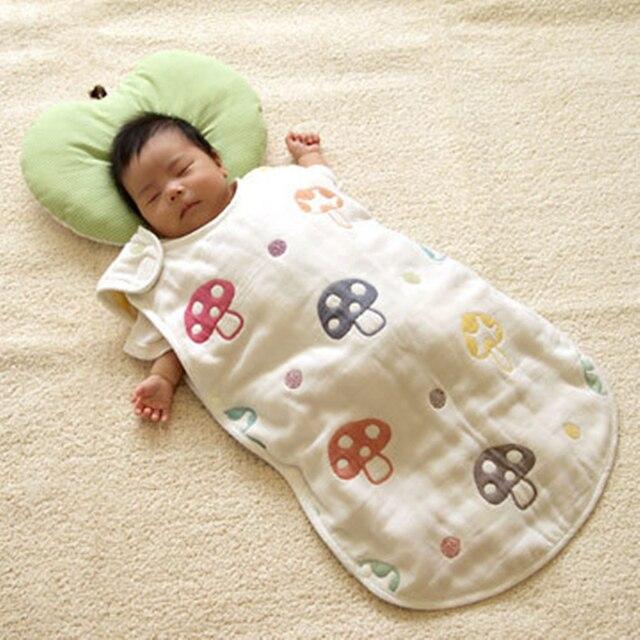 The Newborn Sleeping Bag Four Thicker Mushroom Colorful Gauze Baby Children Cotton
