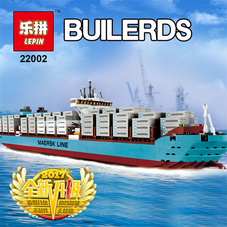 Lepin 22002 1518Pcs The Maersk Cargo Container Ship Set Educational Building Blocks Bricks Model Toys Compatible legoed 10241 lepin 22001 pirate ship imperial warships model building block briks toys gift 1717pcs compatible legoed 10210