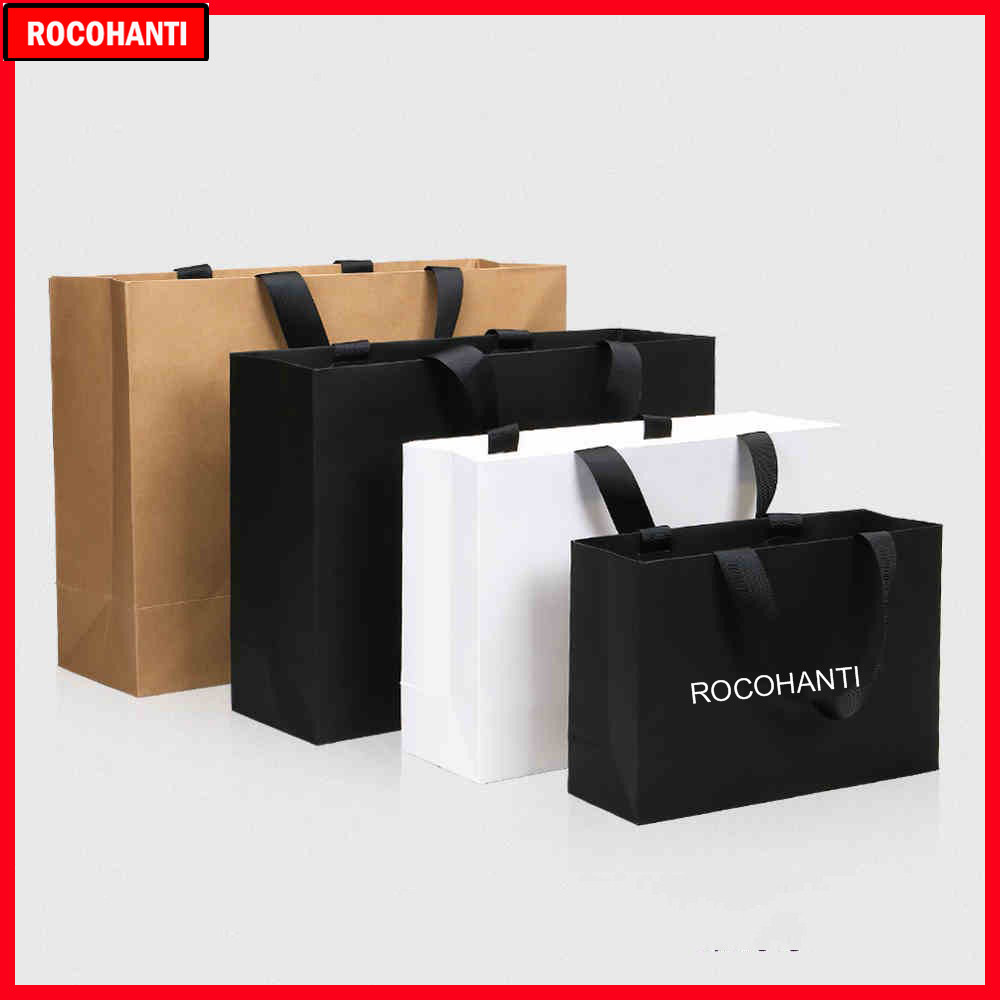 50X Custom Logo Paper Shopping Bag With Ribbon Handle For Clothing Gift Packaging