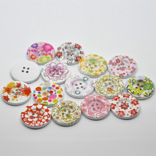 100Pcs Mixed Flower Pattern Wooden Buttons 4 Holes Round Wood Sewing Ornaments Scrapbook Findings 30mm