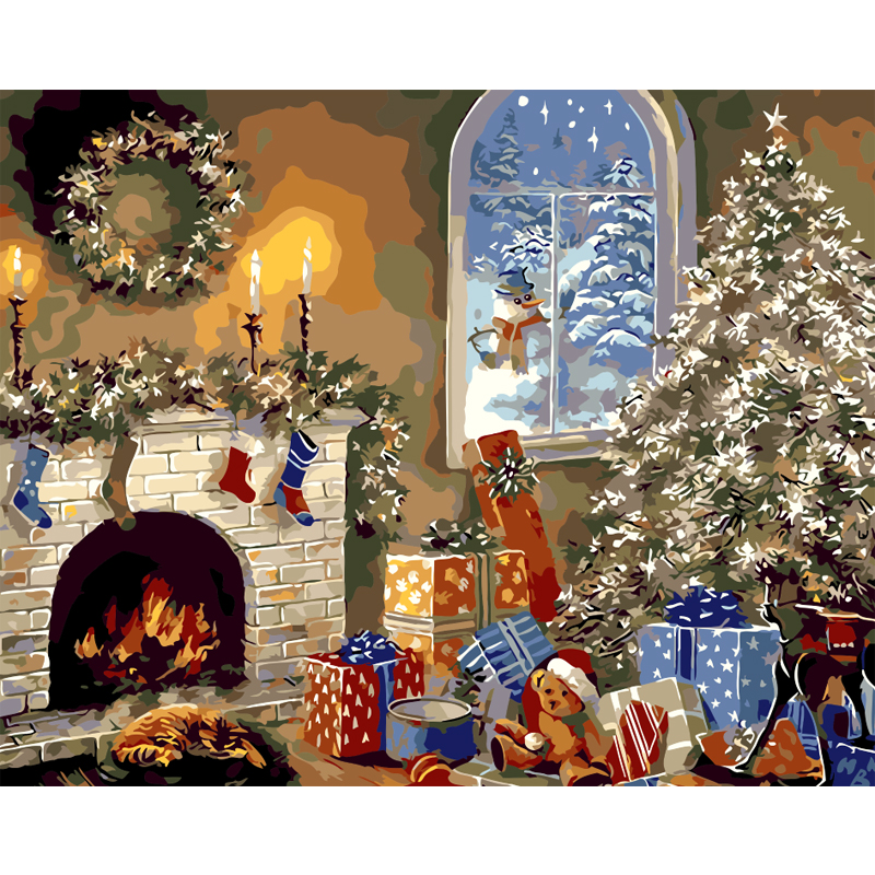 Diy Frameless Oil Painting By Numbers Christmas New Year