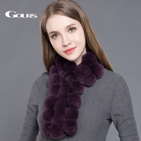 Gours Women S Real Fur Scarf High Quality Luxury Big Rex Rabbit Fur Scarves Fashion Brand