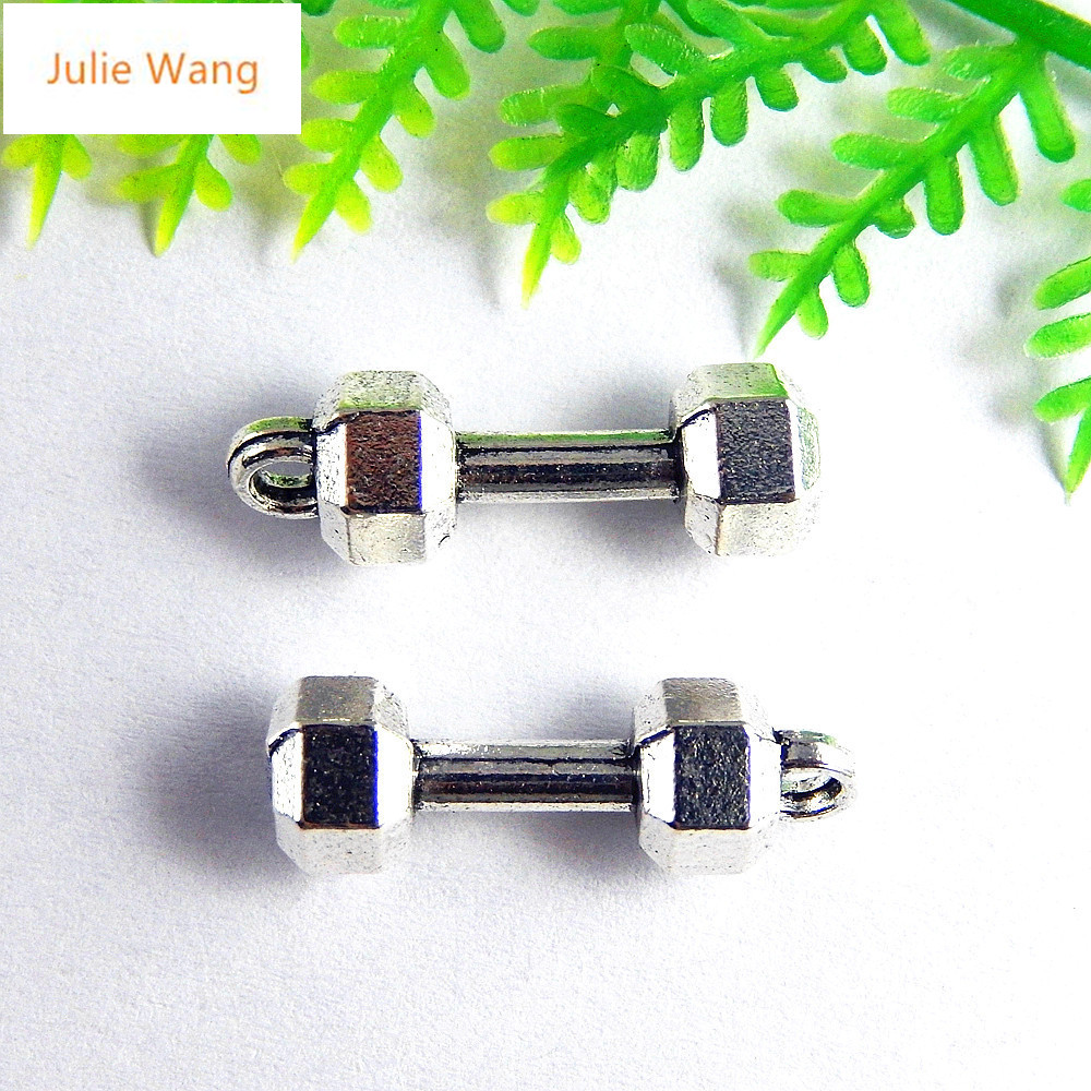 Julie Wang 20PCS Antique Silver Color Dumbbells Fitness Equipment Necklace Earring Bracelet Jewelry For Men And Women Accessor 1
