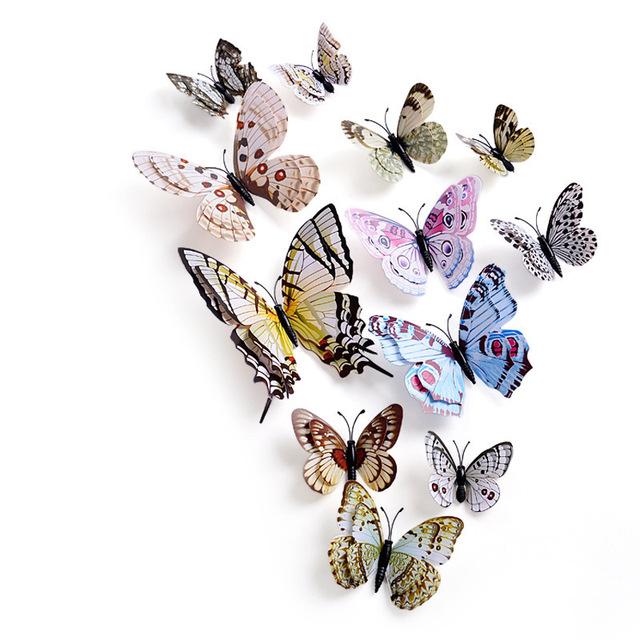 12pcs/set Multicolor Double Layer 3D Butterfly Wall Sticker Magnet PVC Butterflies Party Kids Bedroom Fridge Decoration 10 color