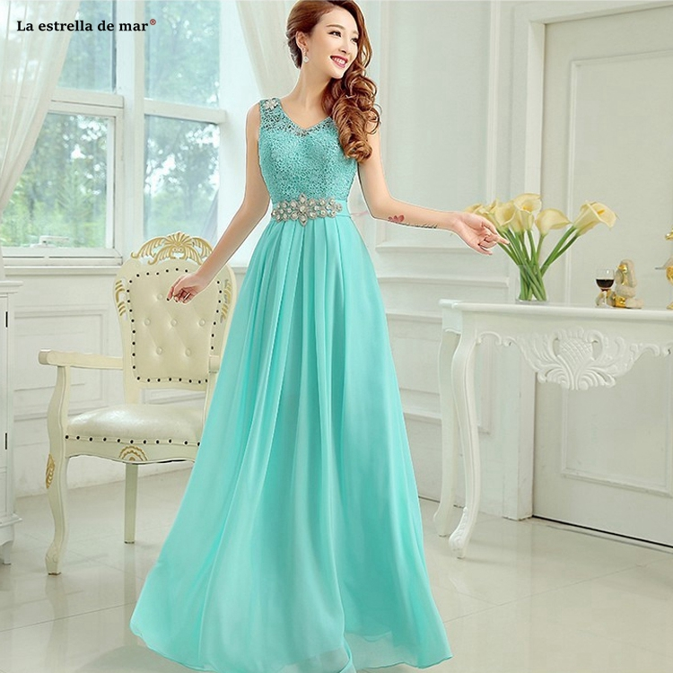 Vestido Madrinha New Lace Chiffon Crystal Belt Sexy V Neck A Line Turquoise Purple Pink Royal Blue Bridesmaid Dress Long Sukienk