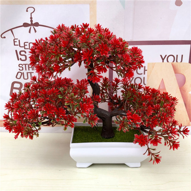 Artificial Plants Bonsai Simulation Plastic Small Tree Pot Plant Potted Ornament Christmas Decoration Home Garden Decor 52841