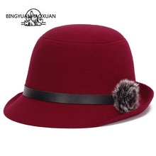 BINGYUANHAOXUAN Womens Winter Hat Vintage Casual Retro Imitation Wool Warm Large Wide Soft