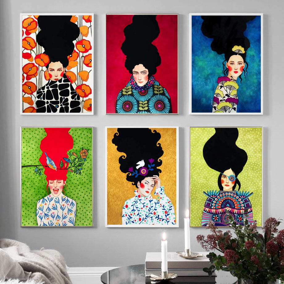 Abstract Girl Hair Flower Bird Wall Art Canvas Painting Nordic Posters And Prints Vintage Wall Pictures Abstract Girl Hair Flower Bird Wall Art Canvas Painting Nordic Posters And Prints Vintage Wall Pictures For Living Room Decor