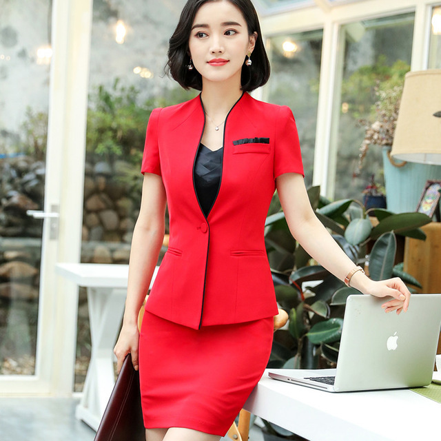Business Formal Women Skirt Suit Summer Fashion Elegant Short Sleeve