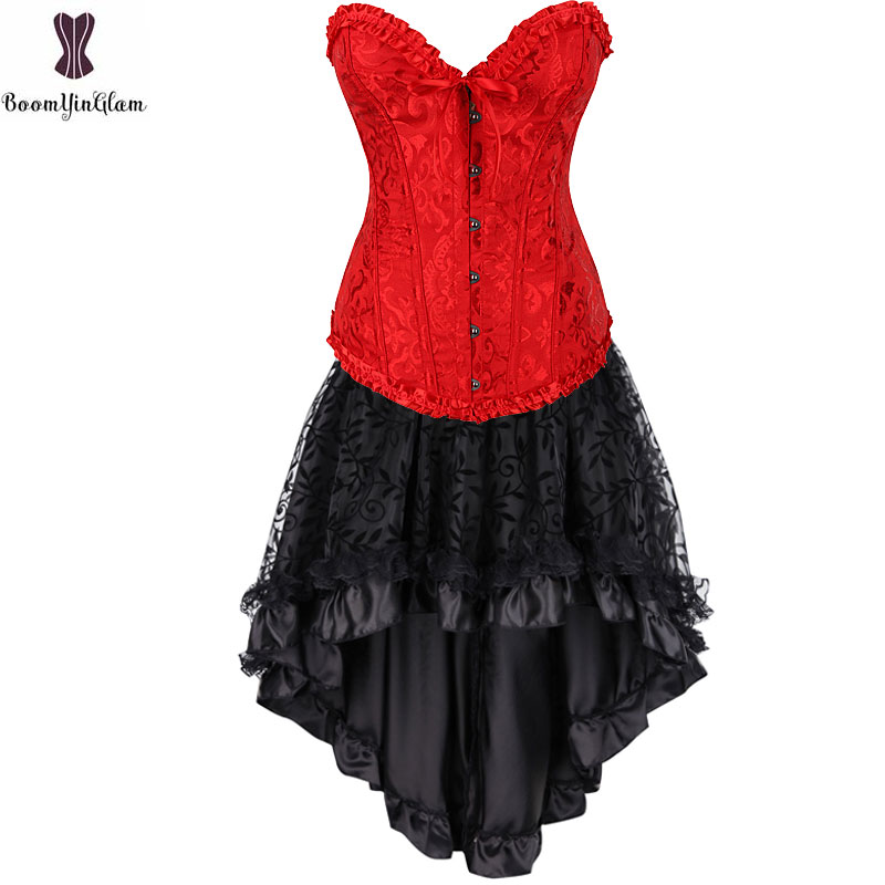 Wholesale Cheap Price Corset Suit Steampunk Gorset Top Cake Skirt Night Clubwear Showgirl Burlesque Bustier Set Sexy Corselett