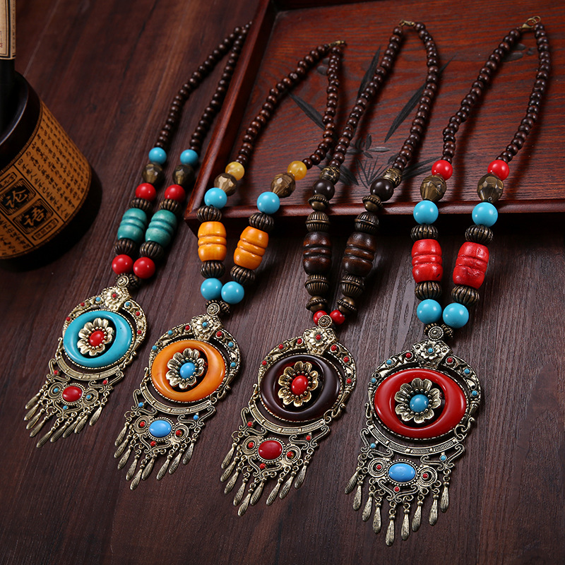 Necklaces & Pendants Europe and America Exaggerated Fringed jewelry Bohemian national style Statement Necklace Long Style Retro