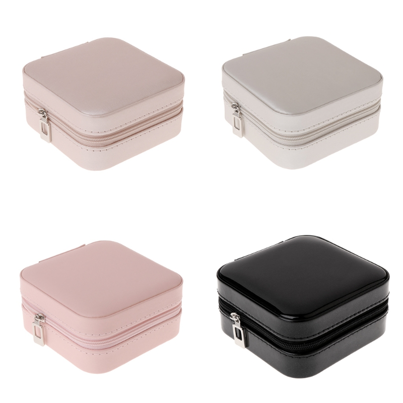 Women's Mini Stud Earrings Rings Jewelry Box Useful Makeup Organizer With Zipper Travel Portable Jewelry Box