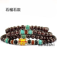 6mm Tibetan Buddhism 108 Garnet Prayer Bead Mantra Mala Necklace