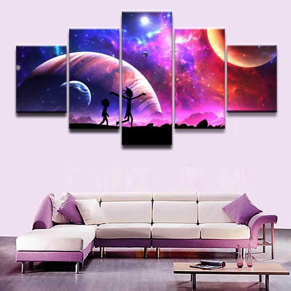 Modern Animation Poster One Set Modular 4 Panel  Starry Sky Landscape Rick Morty Painting For Kids Room Wall Pictures Home Decor