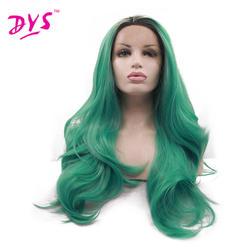 Deyngs длинные Средства ухода за кожей волна черного до темно-зеленого Ombre синтетический Синтетические волосы на кружеве парик жаропрочных