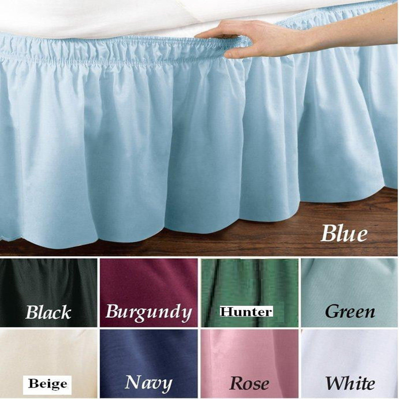 bed dress pure color bed skirt  bed spread king  queen twin bed skirt full size wrap around bed ruffle